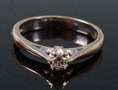 Lot 2603 - An 18ct white gold diamond single stone ring,...