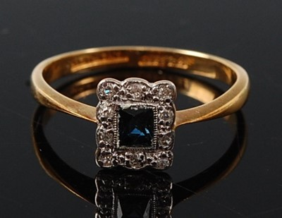 Lot 2604 - A yellow and white metal, sapphire and diamond...