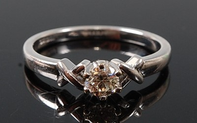 Lot 2608 - An 18ct white gold diamond single stone ring,...