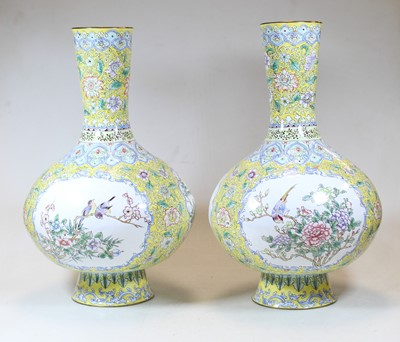 Lot 7 - A pair of continental enamel vases, each...