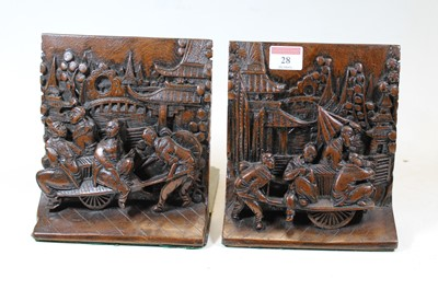 Lot 28 - A pair of Chinese softwood book-ends, each...