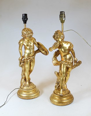 Lot 31 - A pair of modern gilt painted table lamps,...