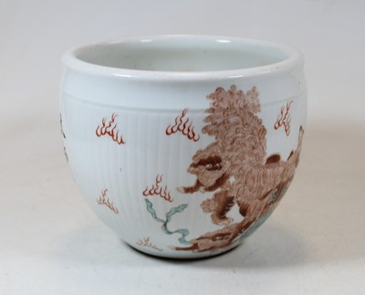 Lot 45 - A Chinese porcelain jardinière, of ribbed form,...