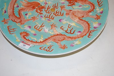 Lot 46 - A Chinese stoneware charger, on a turquoise...