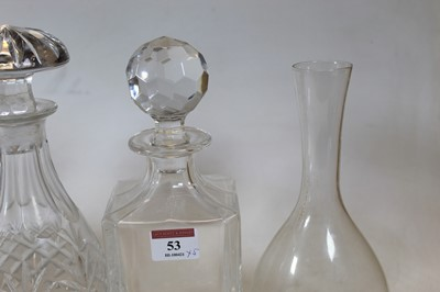 Lot 53 - An early 20th century cut glass decanter,...