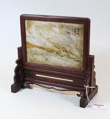 Lot 54 - A Chinese table screen, the hardstone panel...