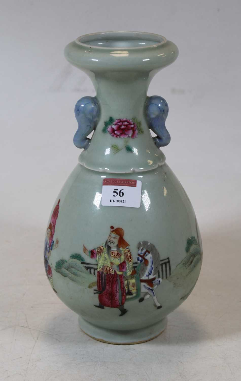 Lot 56 - A Chinese celadon glazed vase, having a flared...
