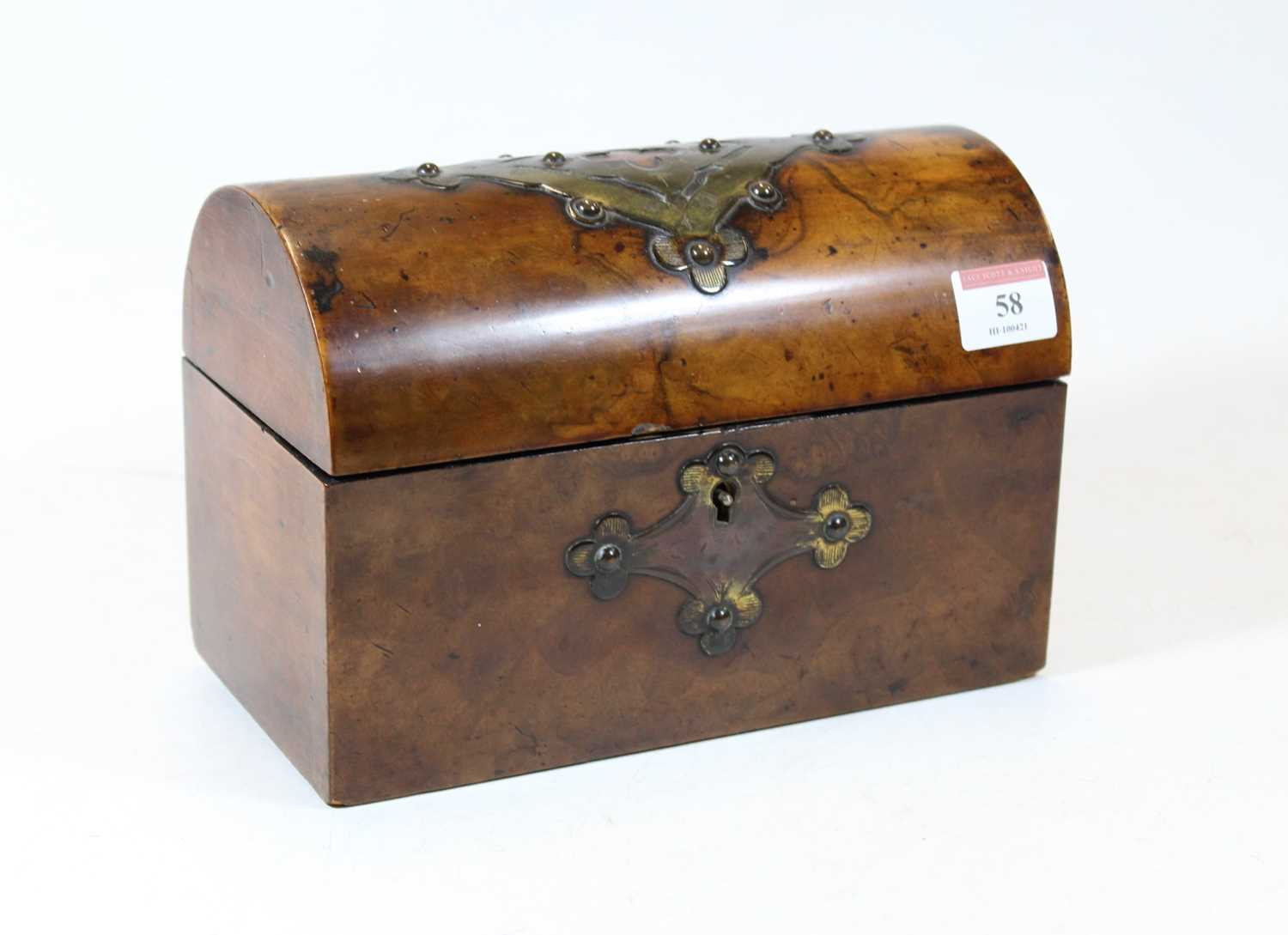Lot 58 - A Victorian walnut and brass bound dome-topped...