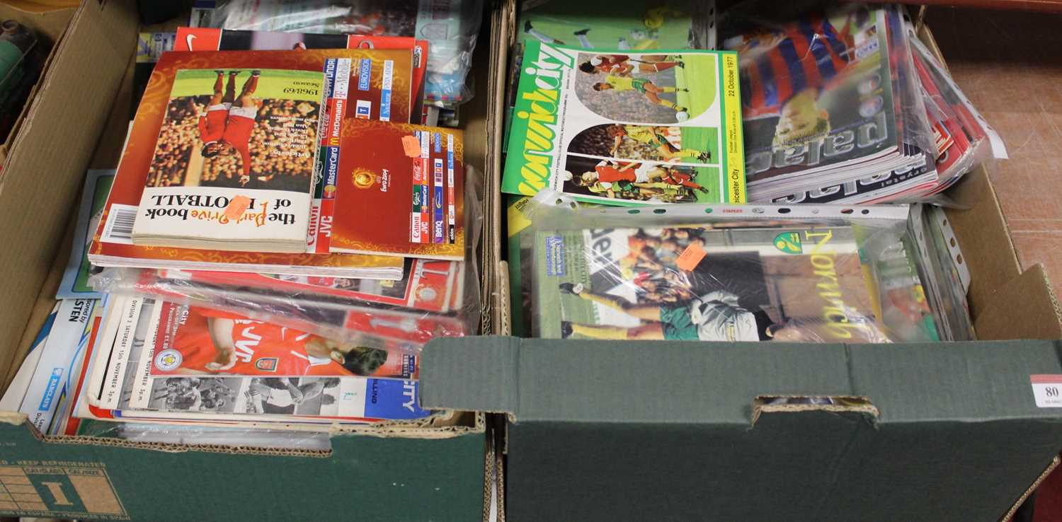 Lot 80 - Two boxes of miscellaneous football programmes,...