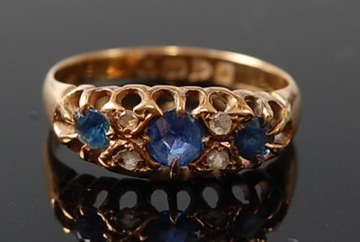 Lot 2611 - An 18ct yellow gold, sapphire and diamond...