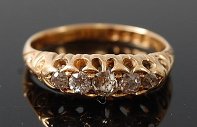 Lot 2615 - A late Victorian 18ct yellow gold diamond five-...