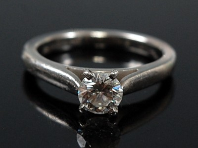 Lot 2631 - A white metal diamond single stone ring,...