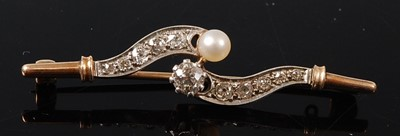 Lot 2663 - A yellow and white metal, pearl and diamond...