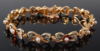 Lot 2664 - A yellow metal, pearl and diamond bracelet,...