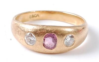 Lot 2673 - A yellow metal pink tourmaline and diamond...