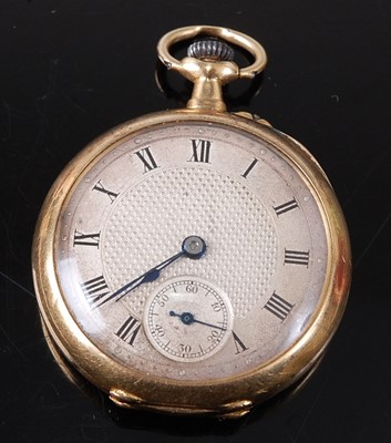 Lot 2669 - An 18ct yellow gold lady's open face keyless...