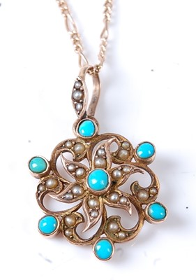 Lot 2672 - A late Victorian yellow metal turquoise and...