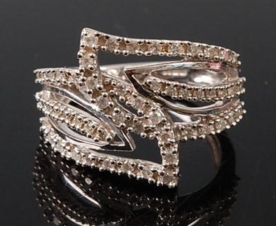 Lot 2678 - A 9ct white gold diamond three row crossover...
