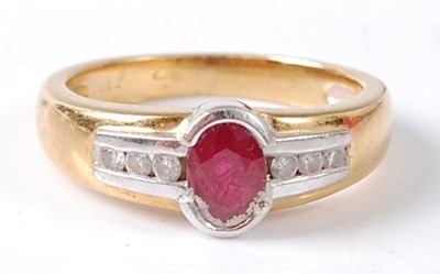 Lot 2682 - An 18ct yellow and white gold ruby and diamond...