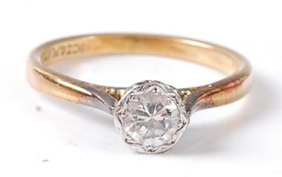 Lot 2684 - A yellow and white metal diamond single stone...