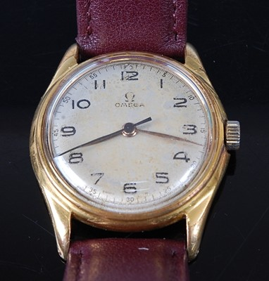 Lot 2651 - A gent's Omega gold plated wristwatch, having...