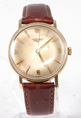 Lot 2657 - A gent's Longines gold plated wristwatch,...