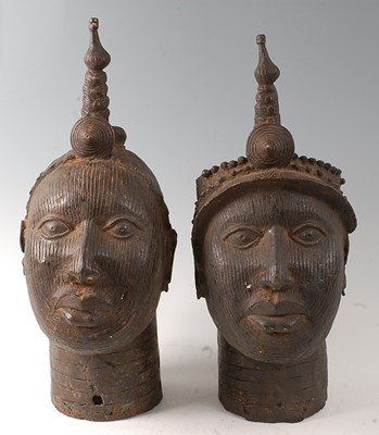Lot A pair of hollow cast copper alloy Royal busts,...