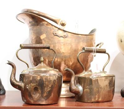 Lot 11 - A Victorian copper coal scuttle, of helmet...