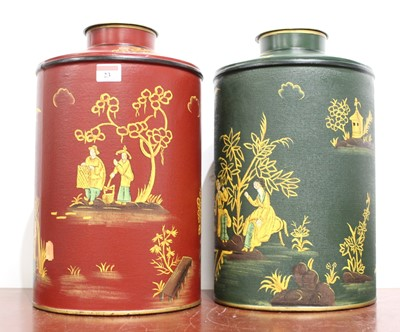 Lot 23 - A near-pair of reproduction Toleware tea...