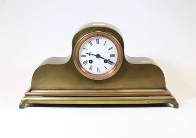 Lot 31 - A late 19th century brass cased mantel clock,...