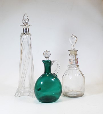 Lot 36 - A 19th century triple ring neck cut glass...