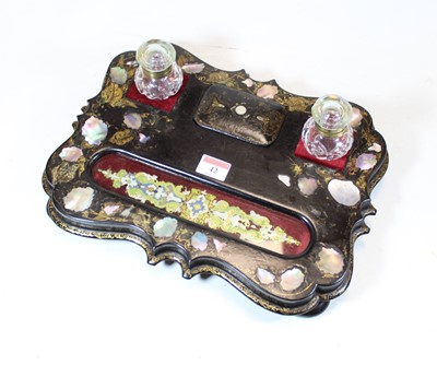 Lot 42 - A Victorian ebonised and mother of pearl...