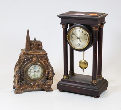 Lot 49 - An early 20th century portico clock, the...