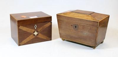Lot 52 - A Regency mahogany and boxwood strung tea...