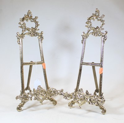 Lot 55 - A pair of modern brass table easels in the...