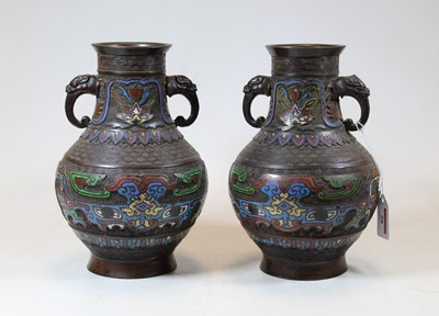 Lot 58 - A pair of Chinese cloisonne enamel decorated...