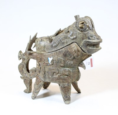 Lot 59 - A reproduction Chinese bronzed zoomorphic...