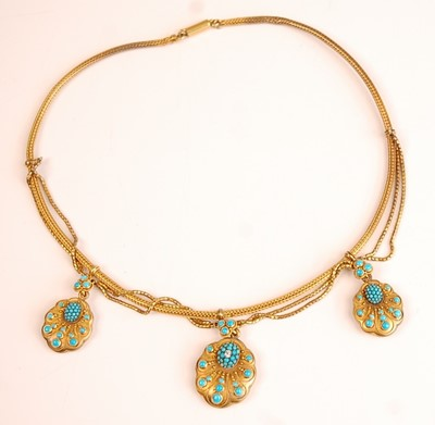 Lot 3096 - A late Victorian yellow metal meshlink necklet,...