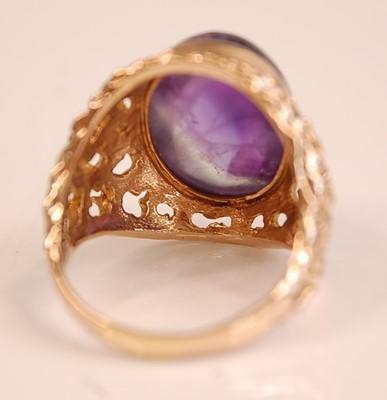 Lot 3094 - A 9ct yellow gold amethyst dress ring,...