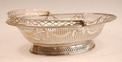 Lot 3055 - A George III silver basket, of beaded oval...