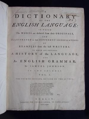 Lot 3003 - JOHNSON, Samuel. A Dictionary of the English...