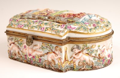 Lot 3038 - A Naples porcelain casket, having hinged cover...