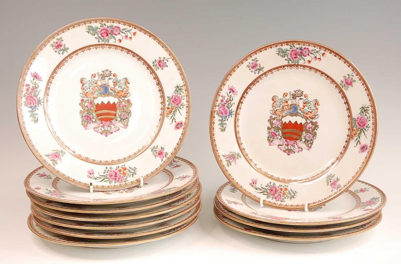 Lot 3039 - A set of eleven continental porcelain armorial...