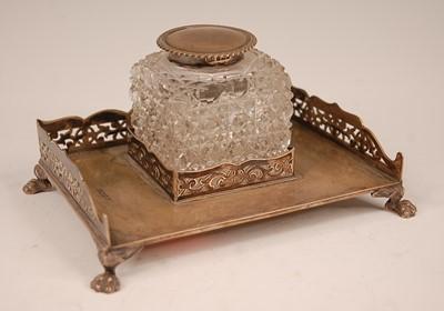 Lot 3079 - An Edwardian silver desk stand, having a...