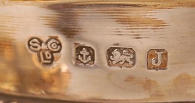 Lot 3077 - A George V silver three-piece tea set,...