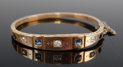Lot 3082 - A late Victorian yellow metal, sapphire and...