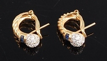 Lot 3083 - A pair of yellow metal, diamond and sapphire...
