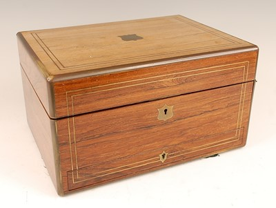 Lot 3081 - A Victorian rosewood and brass bound fitted...
