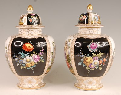 Lot 3042 - A pair of circa 1900 Dresden porcelain vases...