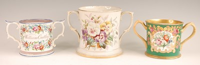 Lot 3026 - A Victorian soft-paste porcelain loving cup,...